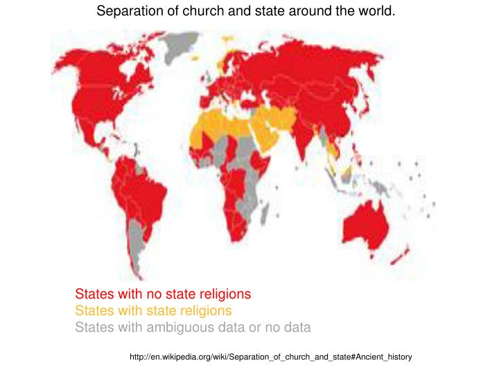 Separation of church and state around the world.