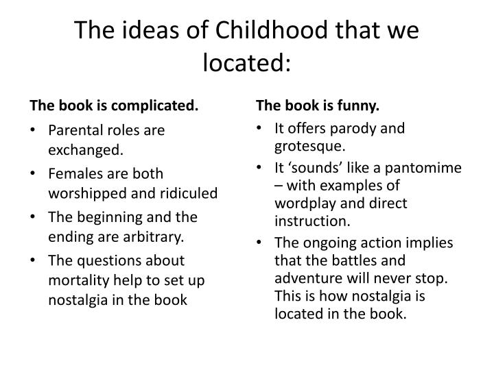 The ideas of Childhood that we located: