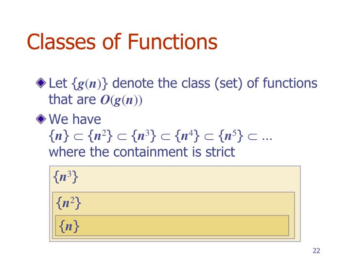 Classes of Functions