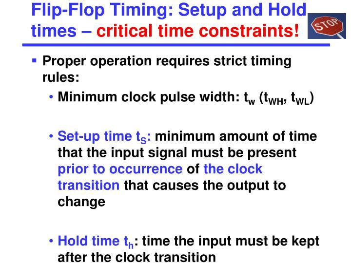 Flip-Flop Timing: Setup and Hold