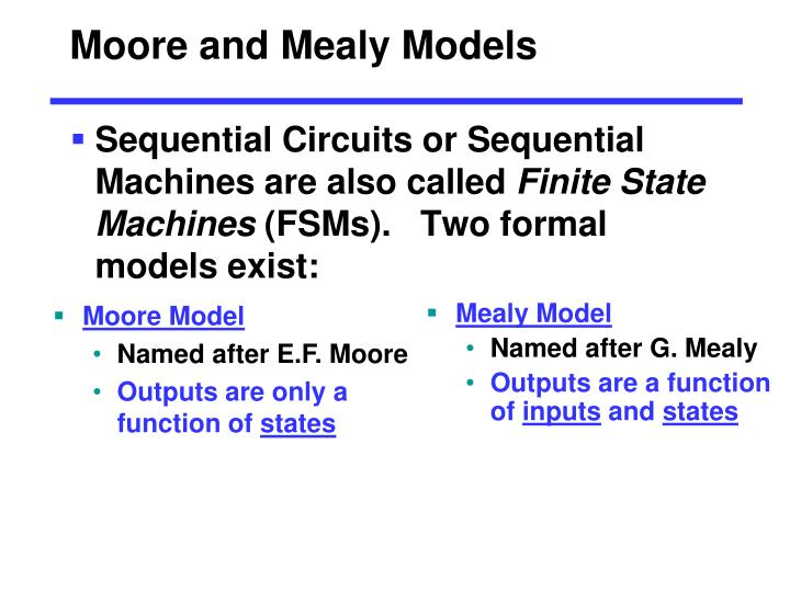 Moore and Mealy Models