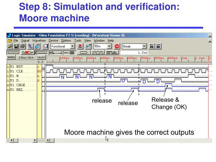 Step 8: Simulation and verification: Moore machine