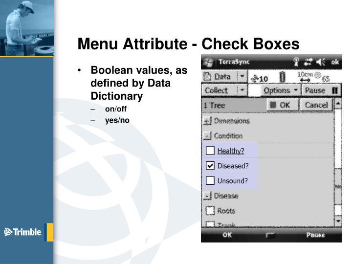 Menu Attribute - Check Boxes
