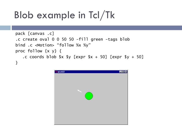 Blob example in Tcl/Tk