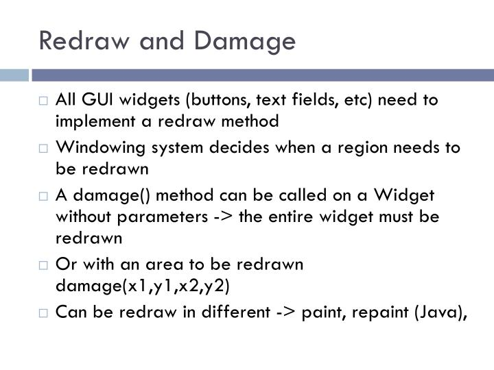 Redraw and Damage