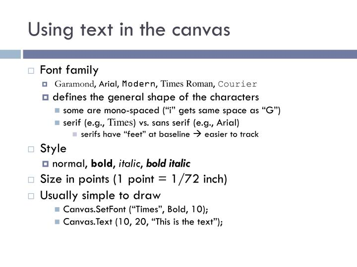Using text in the canvas