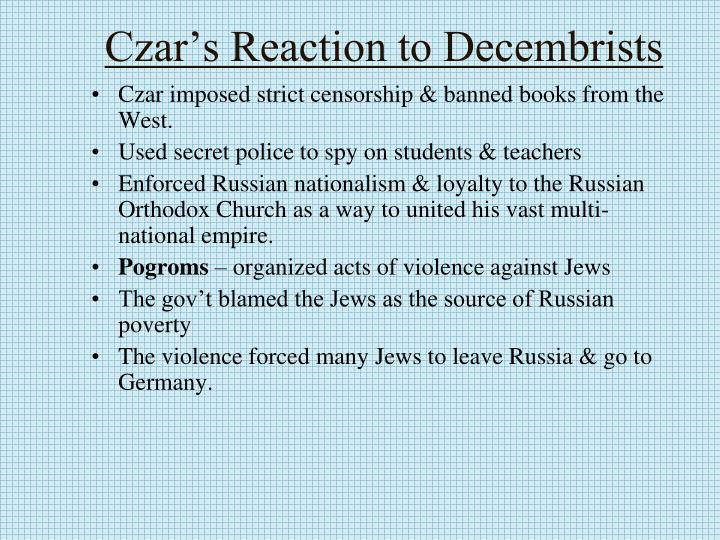 Czar's Reaction to Decembrists