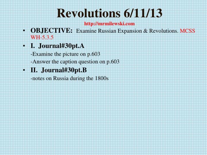Revolutions 6 11 13 http mrmilewski com