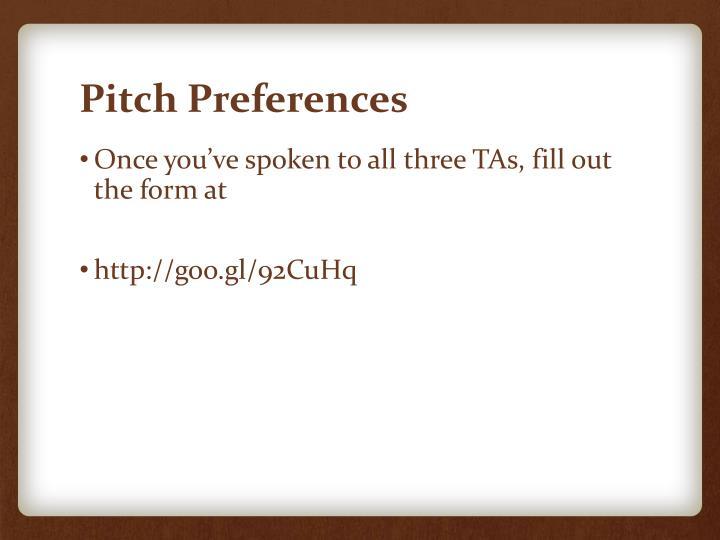 Pitch Preferences