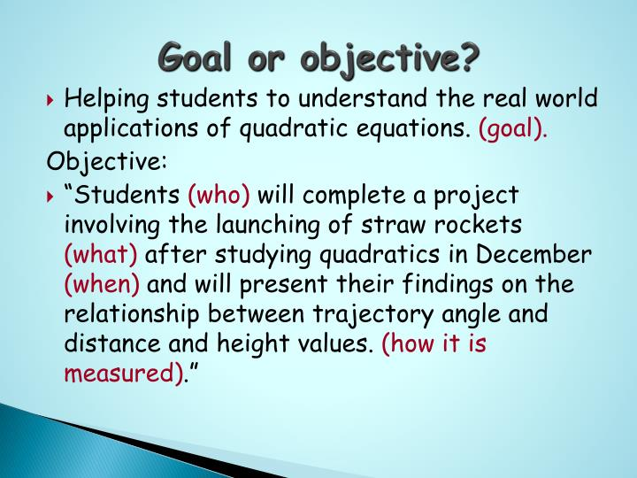 Goal or objective?