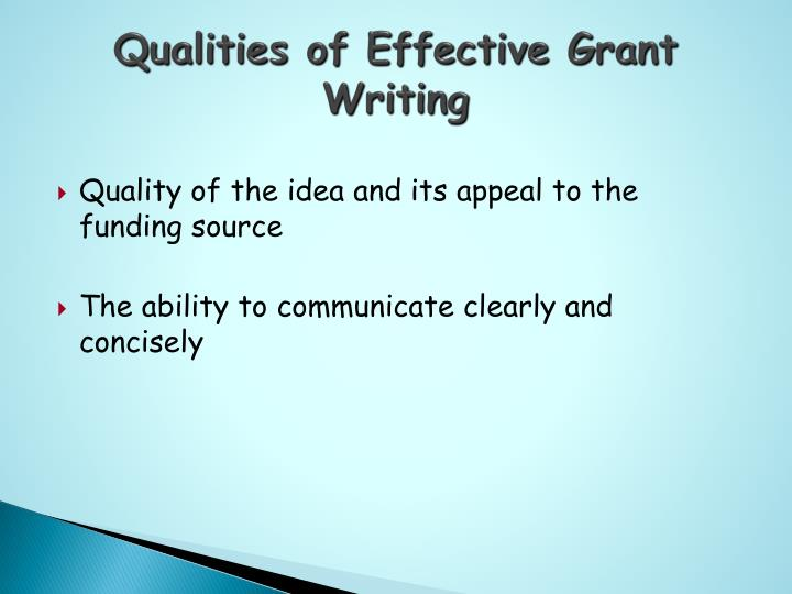 Qualities of Effective Grant Writing