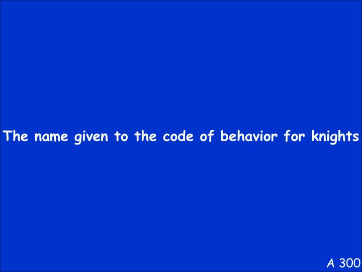 The name given to the code of behavior for knights