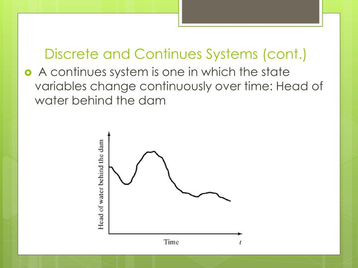 Discrete and Continues Systems (cont.)