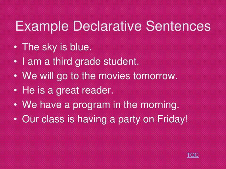 meaning of declarative sentence and examples