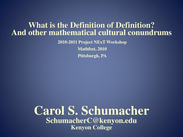 what is the definition of definition and other mathematical cultural conundrums n.