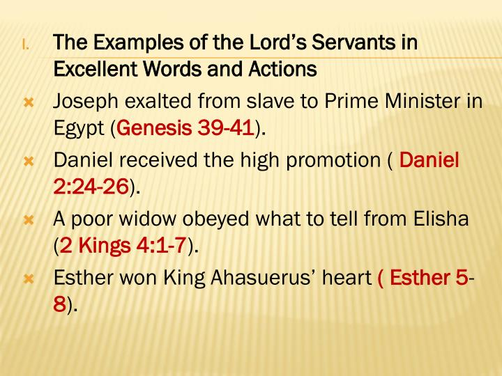 The Examples of the Lord's Servants in Excellent Words and Actions