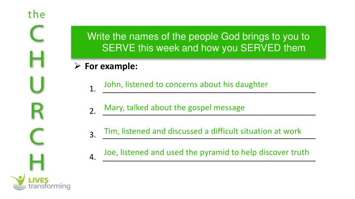 Write the names of the people God brings to you to