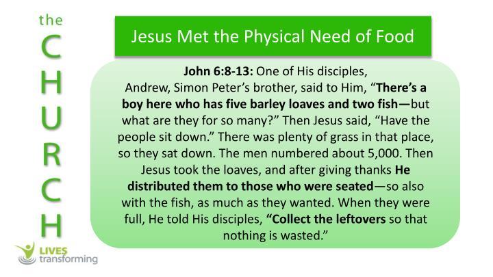 Jesus Met the Physical Need of Food