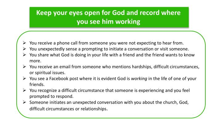 Keep your eyes open for God and record where you see him working