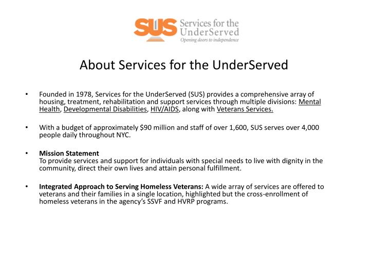about services for the underserved n.