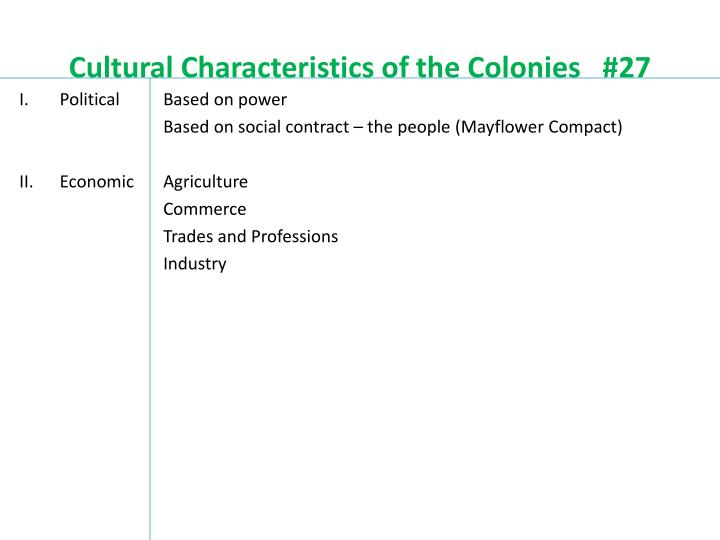 Cultural characteristics of the colonies 271