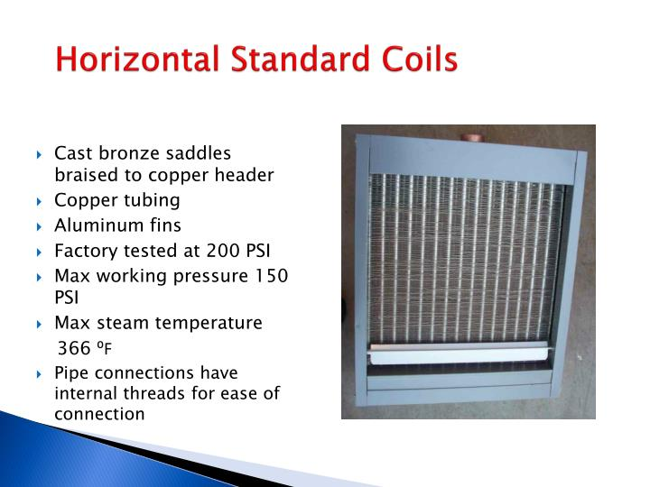 Horizontal standard coils