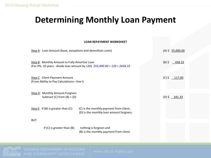 Determining Monthly Loan Payment