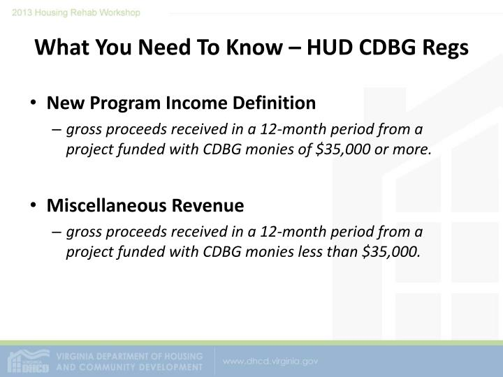 What you need to know hud cdbg regs