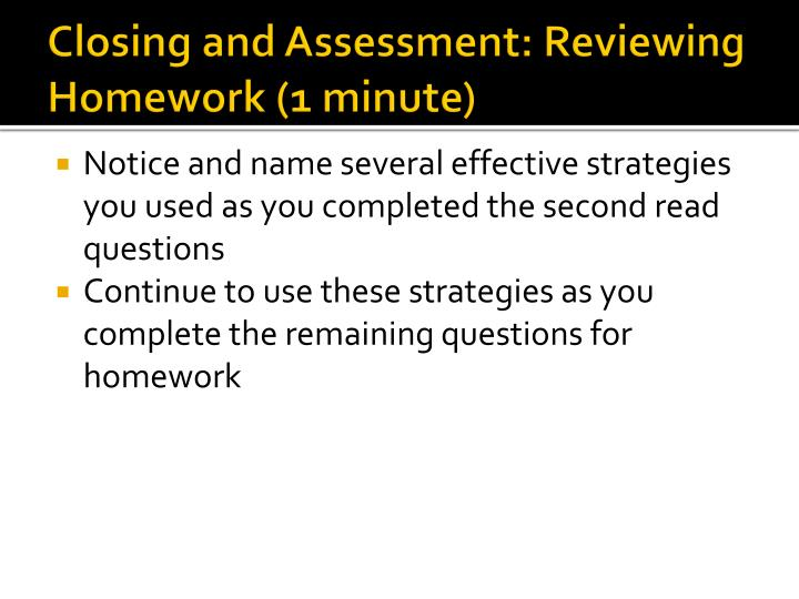 Closing and Assessment: