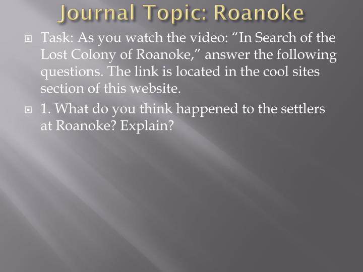 Journal topic roanoke