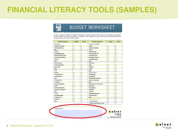 FINANCIAL LITERACY TOOLS (SAMPLES)