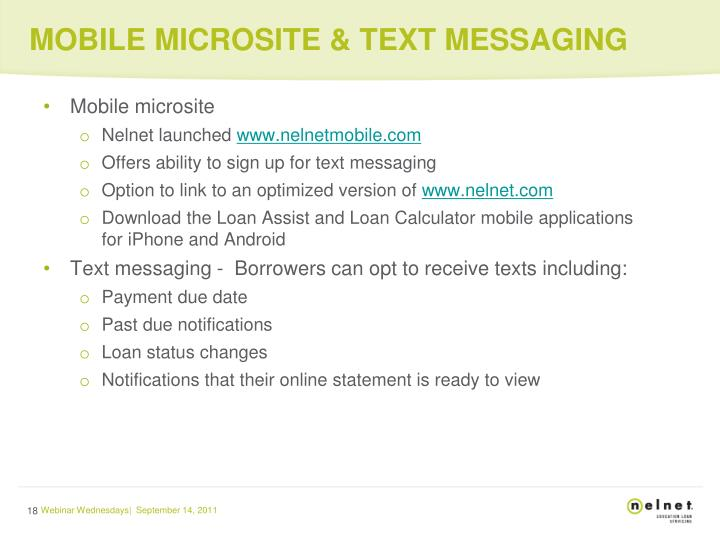 MOBILE MICROSITE & TEXT MESSAGING