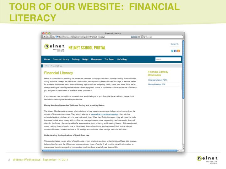 Tour of our website financial literacy