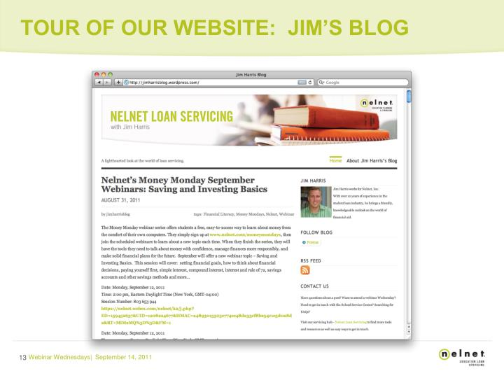 TOUR OF OUR WEBSITE:  JIM'S BLOG