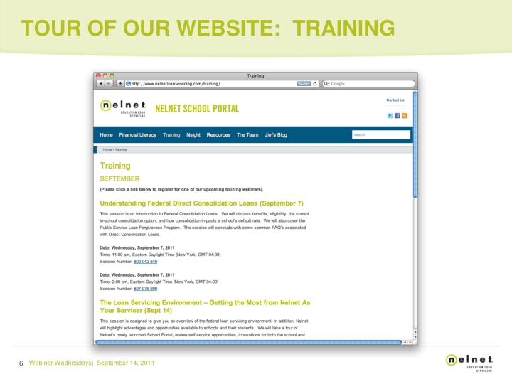 TOUR OF OUR WEBSITE:  TRAINING