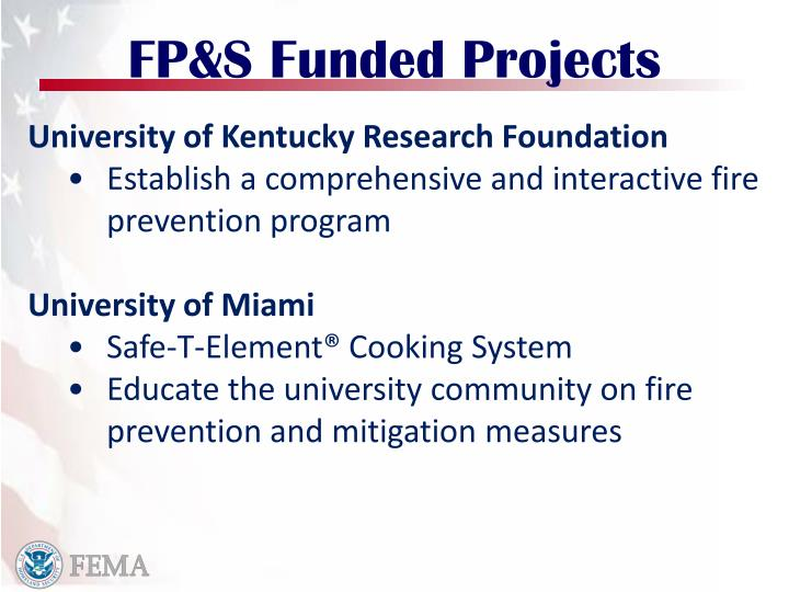 FP&S Funded Projects