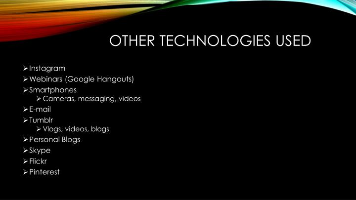 Other Technologies used