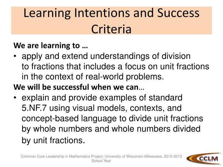 Learning intentions and s uccess criteria