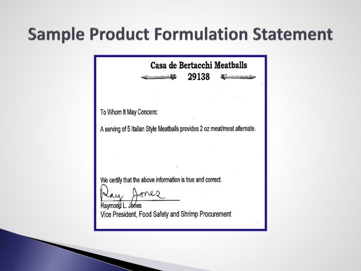 Sample Product Formulation Statement