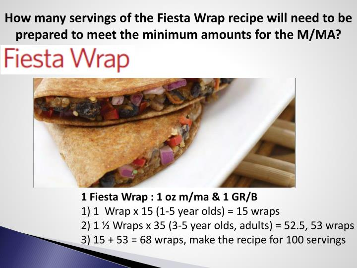 How many servings of the Fiesta Wrap recipe will need to be prepared to meet the minimum amounts for the M/MA?