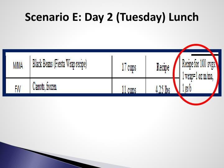Scenario E: Day 2 (Tuesday) Lunch