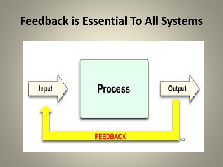 Feedback is Essential To All Systems