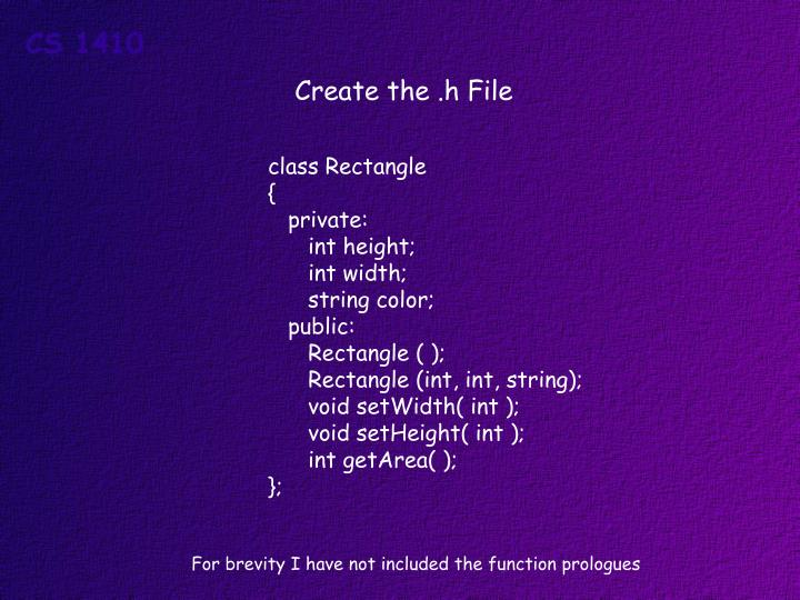 Create the .h File
