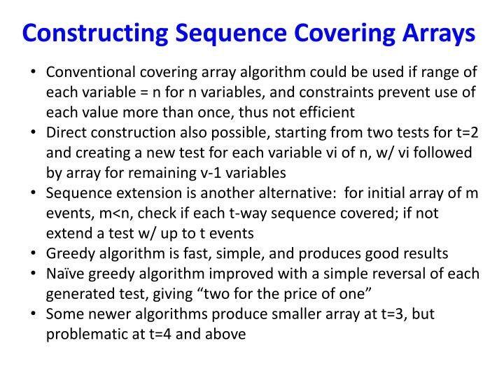 Constructing Sequence Covering Arrays