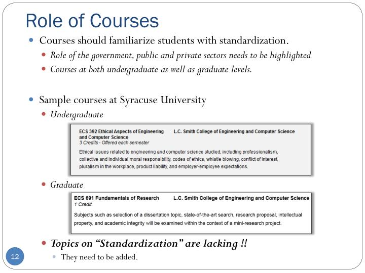 Role of Courses