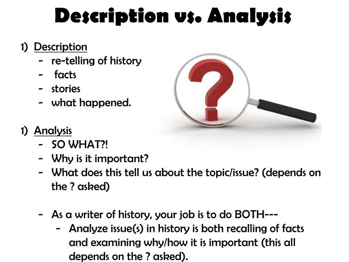 Description vs. Analysis