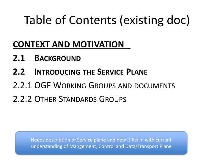 Table of Contents (existing doc)