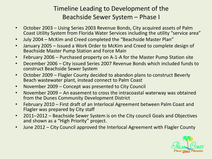 Timeline leading to development of the beachside sewer system phase i