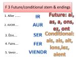 f 3 future conditional stem endings