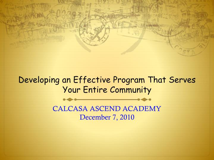 developing an effective program that serves your entire community n.